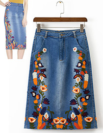 Fashion Blue Flower Pattern Decorated Simple Skirt Reviews
