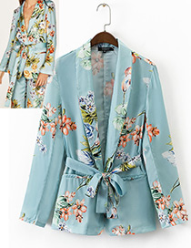 Fashion Blue Flower Pattern Decorated Simple Coat