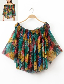 Fashion Multi-color Leaf Pattern Decorated Simple Shirt