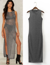 Fashion Gray Pure Color Decorated Simple Dress
