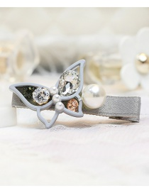Lovely Gray Pearls&bowknot Decorated Simple Hairpin