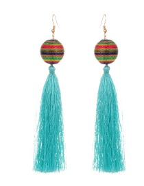 Fashion Green Tassel&balls Decorated Simple Earrings