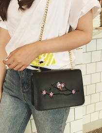 Fashion Black Embroidery Flower&bird Decorated Shoulder Bag