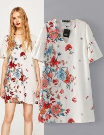 Trendy Multi-color Embroidery Flower Decorated V Neckline Dress