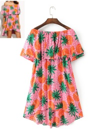 Trendy Pink Pineapple Pattern Decorated Short Sleeves Dress