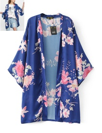 Trendy Blue Flower Pattern Decorated Long Sleeves Kimono Coat