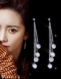Trendy Silver Color Long Tassel Decorated Pure Color Earrings