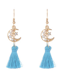 Fashion Blue Tassel&moon Decorated Simple Earrings