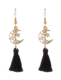 Fashion Black Tassel&moon Decorated Simple Earrings