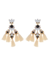 Fashion Beige Tassel&diamond Decorated Simple Earrings