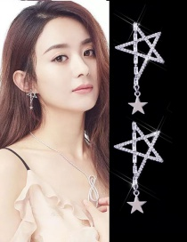 Fahsion Silver Color Star Shape Decorated Simple Earrings