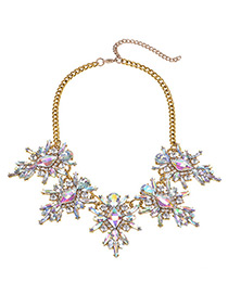 Fashion Champagne Diamond Decorated Simple Necklace