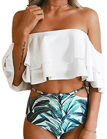 Sexy White Leaf Pattern Decorated Simple Swimwear Reviews