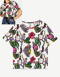 Fashion White+red+green Parrot Pattern Decorated Simple Shirt