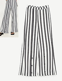 Fashion White+black Stripe Pattern Decorated Simple Trousers