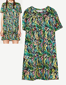 Fashion Green Flower Pattern Decorated Simple Dress