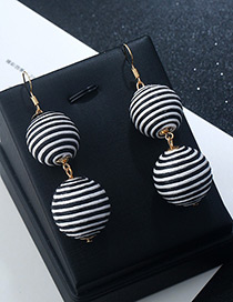Fashion Black+white Round Balls Decorated Pure Color Earrings