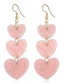 Fashion Pink Heart Shape Decorated Pure Color Earrings