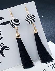 Bohemia Black+white Round Ball&tassel Decorated Simple Earrings