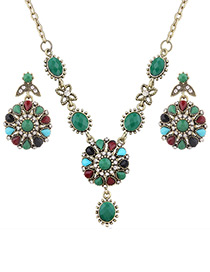 Fashion Green Diamond Decorated Flower Shape Jewelry Sets