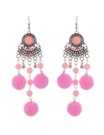 Fashion Pink Fuzzy Balls Decorated Tassel Design Pom Earrings