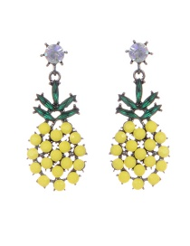 Fashion Yellow Pineapple Shape Decorated Simple Earrings
