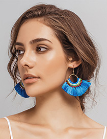 Fashion Blue Tassel Decorated Simple Hand-woven Earrings