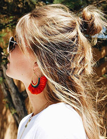 Fashion Red Tassel Decorated Simple Hand-woven Earrings