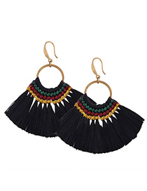 Fashion Black Tassel Decorated Simple Hand-woven Earrings