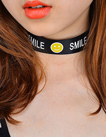 Fashion Black Smiling Face Pattern Decorated Simple Choker