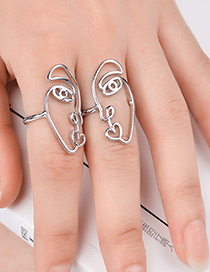 Fashion Silver Color Mask Shape Decorated Pure Color Ring(2pcs)
