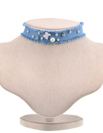 Elegant Blue Pearls&butterfly Decorated Choker