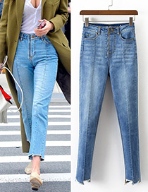 Fashion Blue Pure Color Decorated High Waist Long Jeans