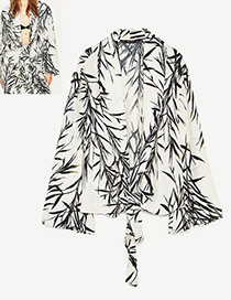 Fashion White Bamboo Leaves Decorated Long Sleeves Coat