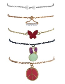Trendy Gold Color Butterfly&rabbit Decorated Simple Bracelet(5pcs)