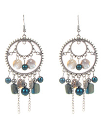 Fashion Blue Circular Ring&tassel Decorated Earrings