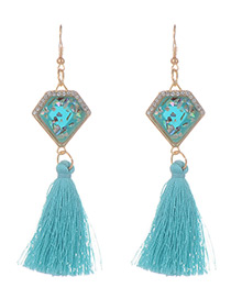 Fashion Blue Long Tassel Decorated Geometric Shape Earrings