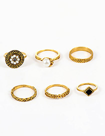 Fashion Gold Color Pearls&flower Decorated Simple Ring (6pcs)