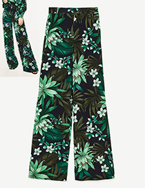 Fashion Green Flower Pattern Decorated Leisure Long Trousers