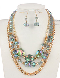 Vintage Green Chain&beads Decorated Multi-layer Jewelry Sets