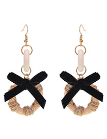 Trendy Brown Bowknot Pendant Decorated Simple Earrings