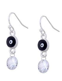 Personality Black Eyes &round Diamond Decorated Earrings