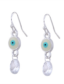 Personality White Eyes &round Diamond Decorated Earrings