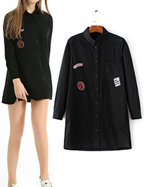 Fashion Black Patch Decorated Long Sleeves Shirt