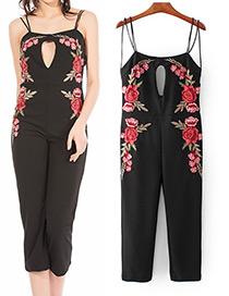 Vintage Black Hollow Out Decorated Jumpsuit