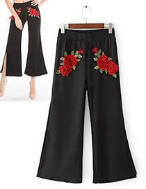 Vintage Black Rose Shape Decorated Wide-leg Trousers