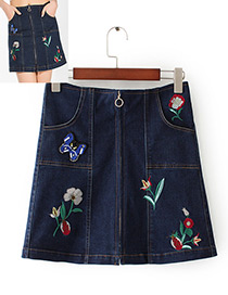 Fashion Blue Embroidery Decorated Skirt