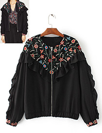 Fashion Black Embroidery Decorated Jacket