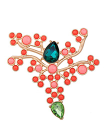 Elegant Red Oval Shape Diamond Decorated Brooch
