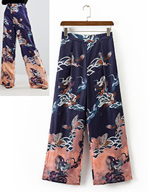 Vintage Navy Bird Shape Decorated Wide-leg Trousers
